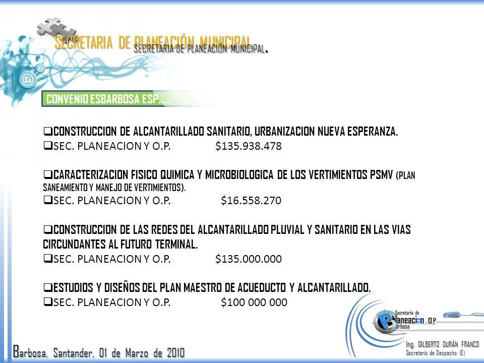 B arbosa, Santander, 01 de Marzo de 2010 CONVENIO ESBARBOSA ESP….. Ing. GILBERTO DURÁN FRANCO Secretario de Despacho (E) SECRETARIA DE PLANEACIÓN MUNI