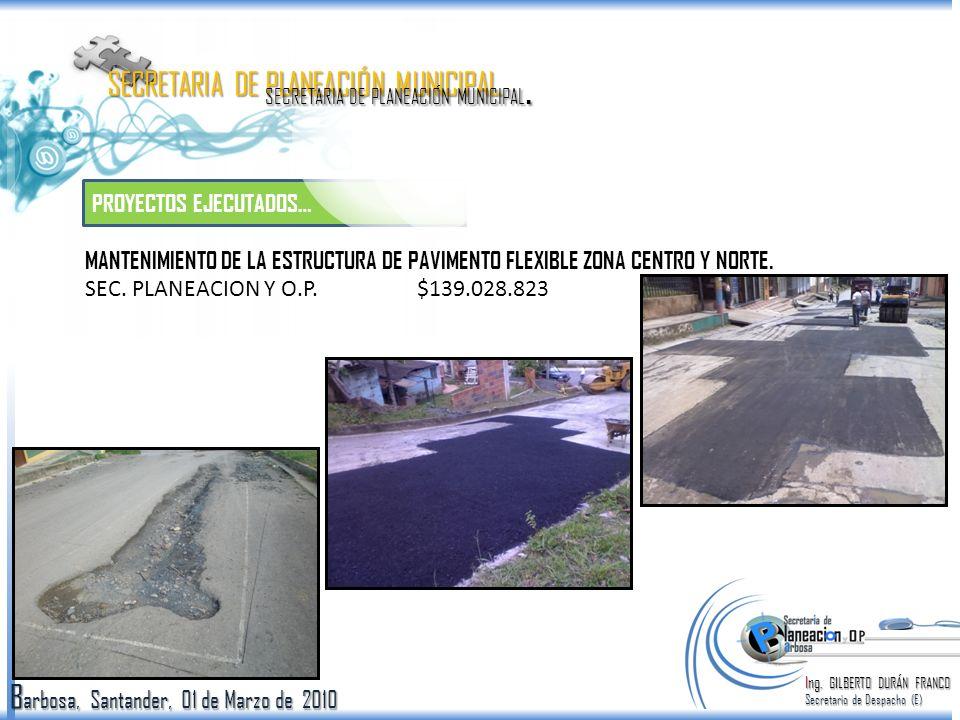 B arbosa, Santander, 01 de Marzo de 2010 EJECUTADOS… Ing.