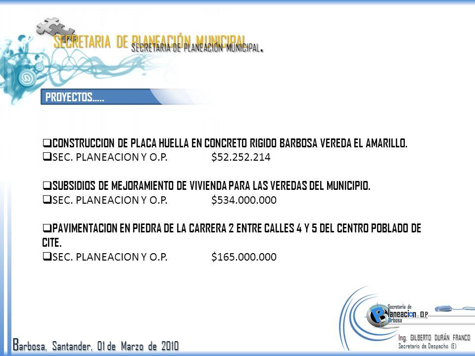 B arbosa, Santander, 01 de Marzo de 2010 PROYECTOS…..