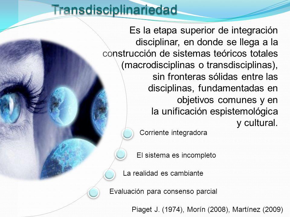 Transdisciplinariedad Es la etapa superior de integración disciplinar, en donde se llega a la construcción de sistemas teóricos totales (macrodiscipli