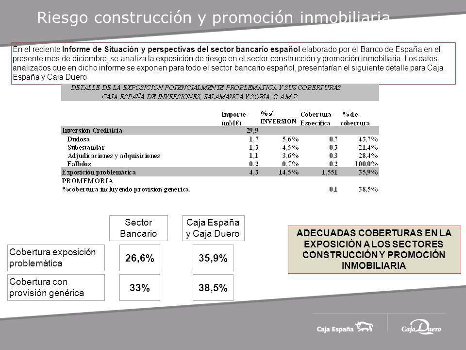 Riesgo construcción y promoción inmobiliaria En el reciente Informe de Situación y perspectivas del sector bancario español elaborado por el Banco de España en el presente mes de diciembre, se analiza la exposición de riesgo en el sector construcción y promoción inmobiliaria.