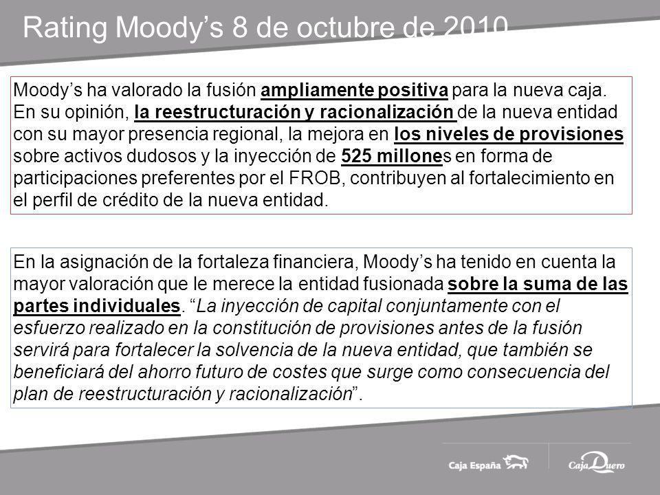 Moodys ha valorado la fusión ampliamente positiva para la nueva caja.