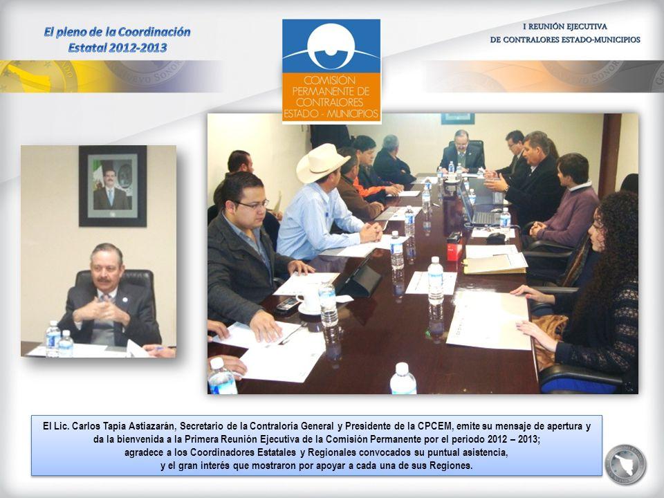 El Lic. Carlos Tapia Astiazarán, Secretario de la Contraloría General y Presidente de la CPCEM, emite su mensaje de apertura y da la bienvenida a la P