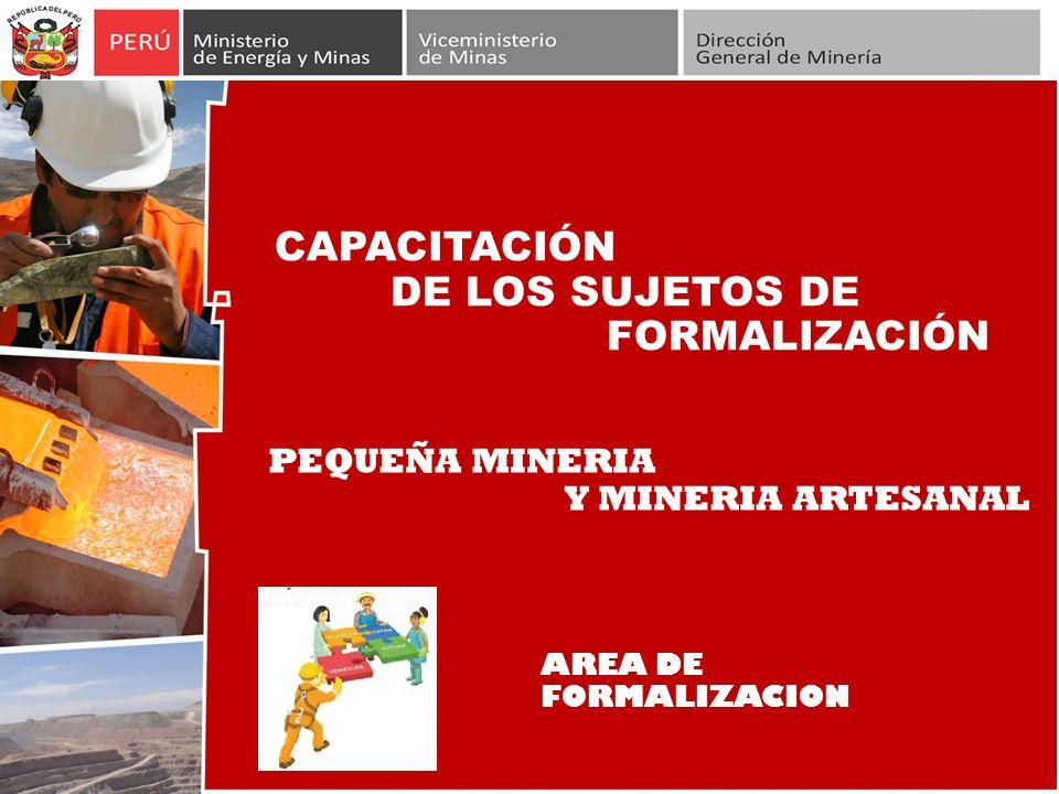 CAPACITACIÓN DE LOS SUJETOS DE FORMALIZACIÓN PEQUEÑA MINERIA Y MINERIA ARTESANAL AREA DE FORMALIZACION