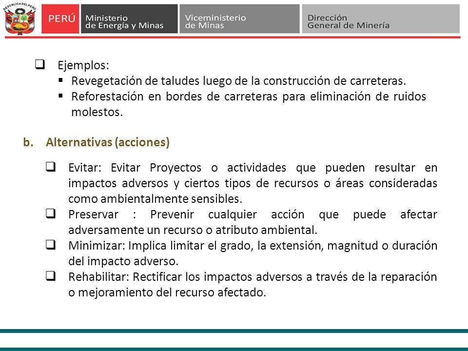 b.Alternativas (acciones) Ejemplos: Revegetación de taludes luego de la construcción de carreteras. Reforestación en bordes de carreteras para elimina