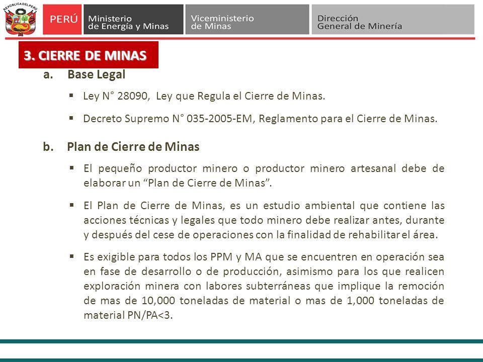 3. CIERRE DE MINAS El pequeño productor minero o productor minero artesanal debe de elaborar un Plan de Cierre de Minas. El Plan de Cierre de Minas, e