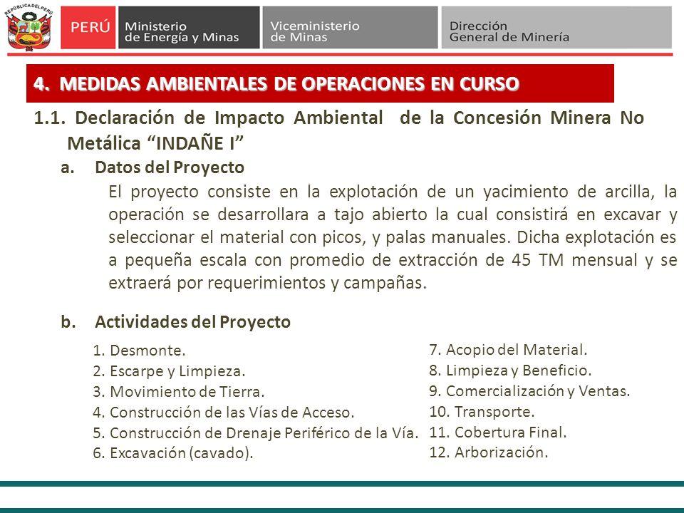 4. MEDIDAS AMBIENTALES DE OPERACIONES EN CURSO a.Datos del Proyecto El proyecto consiste en la explotación de un yacimiento de arcilla, la operación s