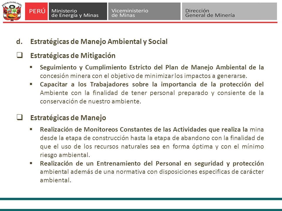 d.Estratégicas de Manejo Ambiental y Social Seguimiento y Cumplimiento Estricto del Plan de Manejo Ambiental de la concesión minera con el objetivo de