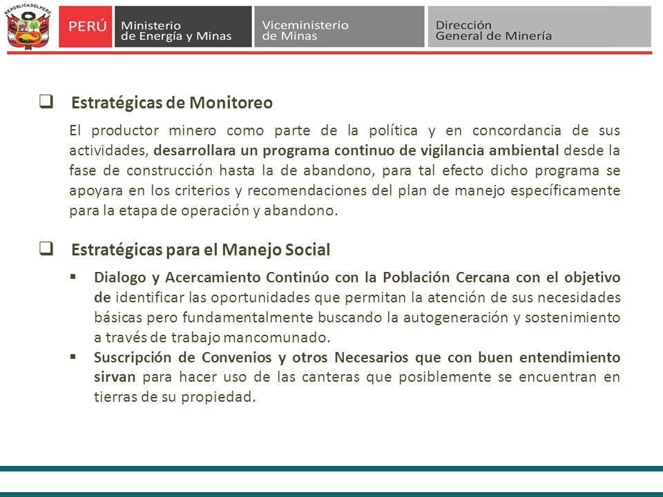 El productor minero como parte de la política y en concordancia de sus actividades, desarrollara un programa continuo de vigilancia ambiental desde la