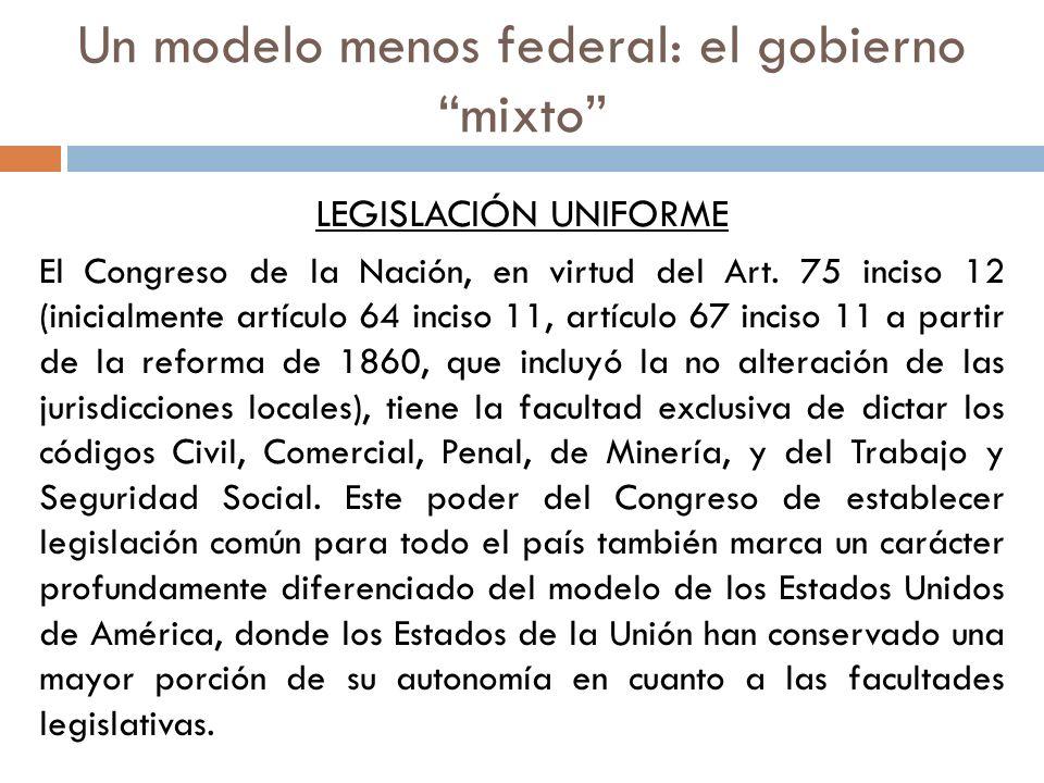 LEGISLACIÓN UNIFORME El Congreso de la Nación, en virtud del Art. 75 inciso 12 (inicialmente artículo 64 inciso 11, artículo 67 inciso 11 a partir de
