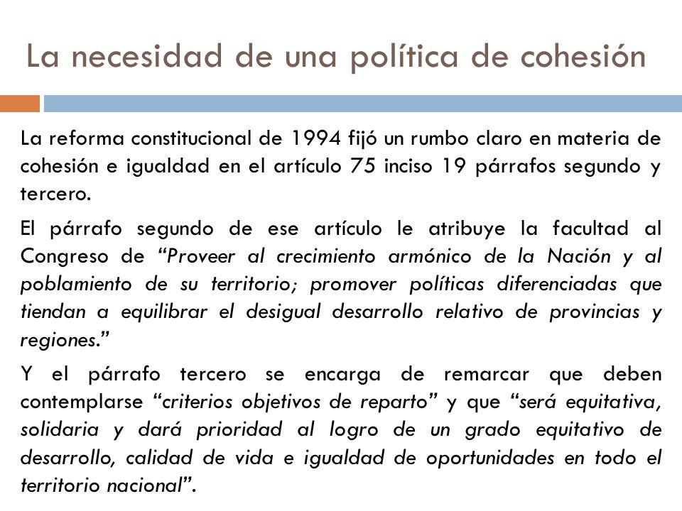 La necesidad de una política de cohesión La reforma constitucional de 1994 fijó un rumbo claro en materia de cohesión e igualdad en el artículo 75 inc
