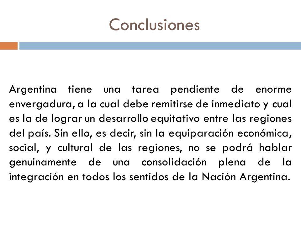 Argentina tiene una tarea pendiente de enorme envergadura, a la cual debe remitirse de inmediato y cual es la de lograr un desarrollo equitativo entre