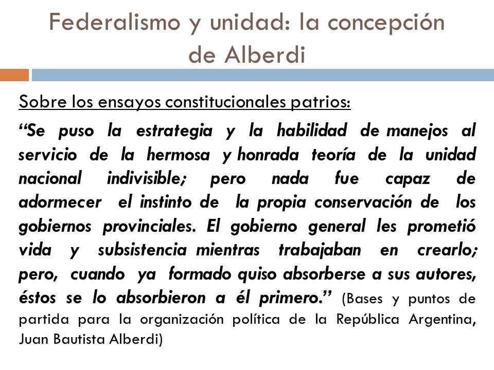 Federalismo y unidad: la concepción de Alberdi Naturaleza del poder político: Pero ¿hay en este mundo gobierno chico o grande que se abdique a sí mismo hasta desaparecer enteramente.
