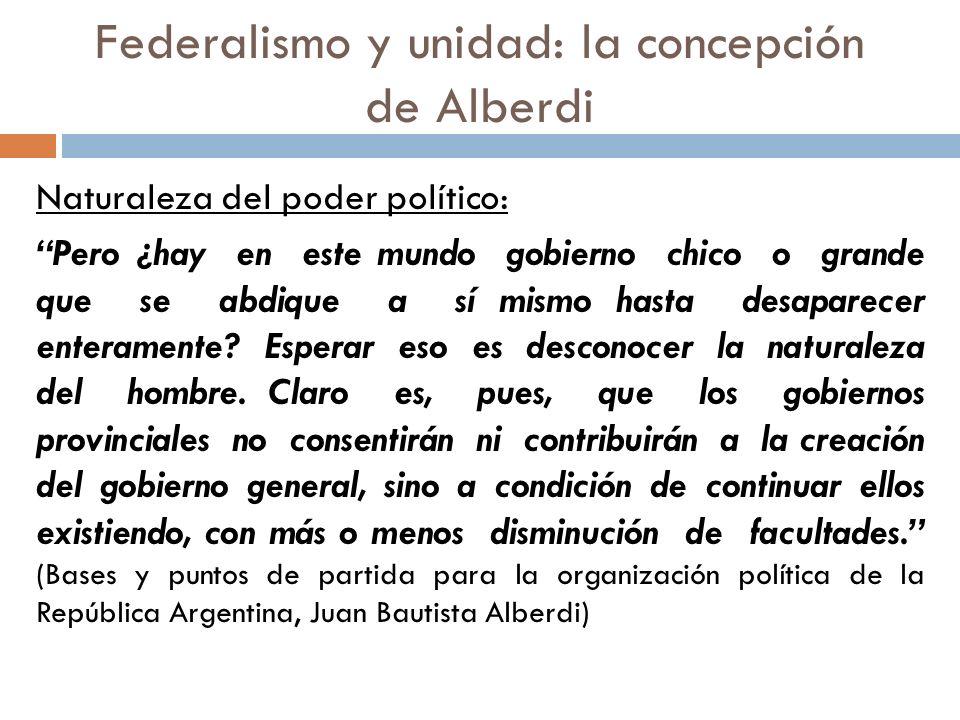 Federalismo y unidad: la concepción de Alberdi Naturaleza del poder político: Pero ¿hay en este mundo gobierno chico o grande que se abdique a sí mism