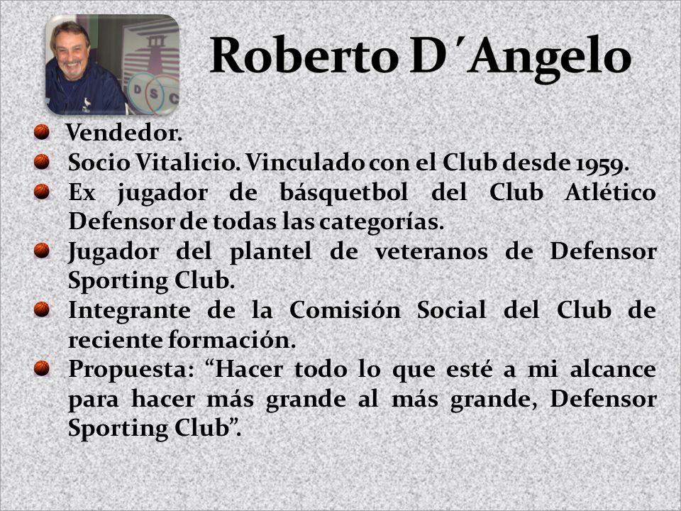 Vendedor. Socio Vitalicio. Vinculado con el Club desde 1959. Ex jugador de básquetbol del Club Atlético Defensor de todas las categorías. Jugador del