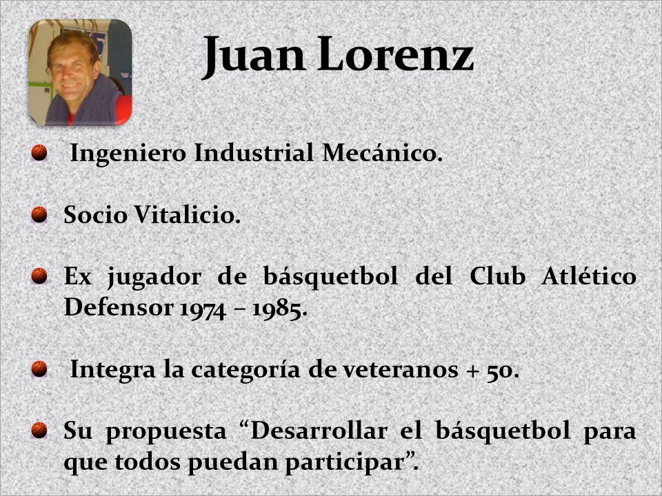 Ingeniero Industrial Mecánico. Socio Vitalicio. Ex jugador de básquetbol del Club Atlético Defensor 1974 – 1985. Integra la categoría de veteranos + 5