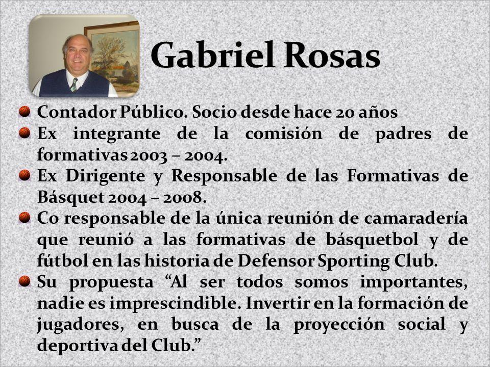 Contador Público. Socio desde hace 20 años Ex integrante de la comisión de padres de formativas 2003 – 2004. Ex Dirigente y Responsable de las Formati
