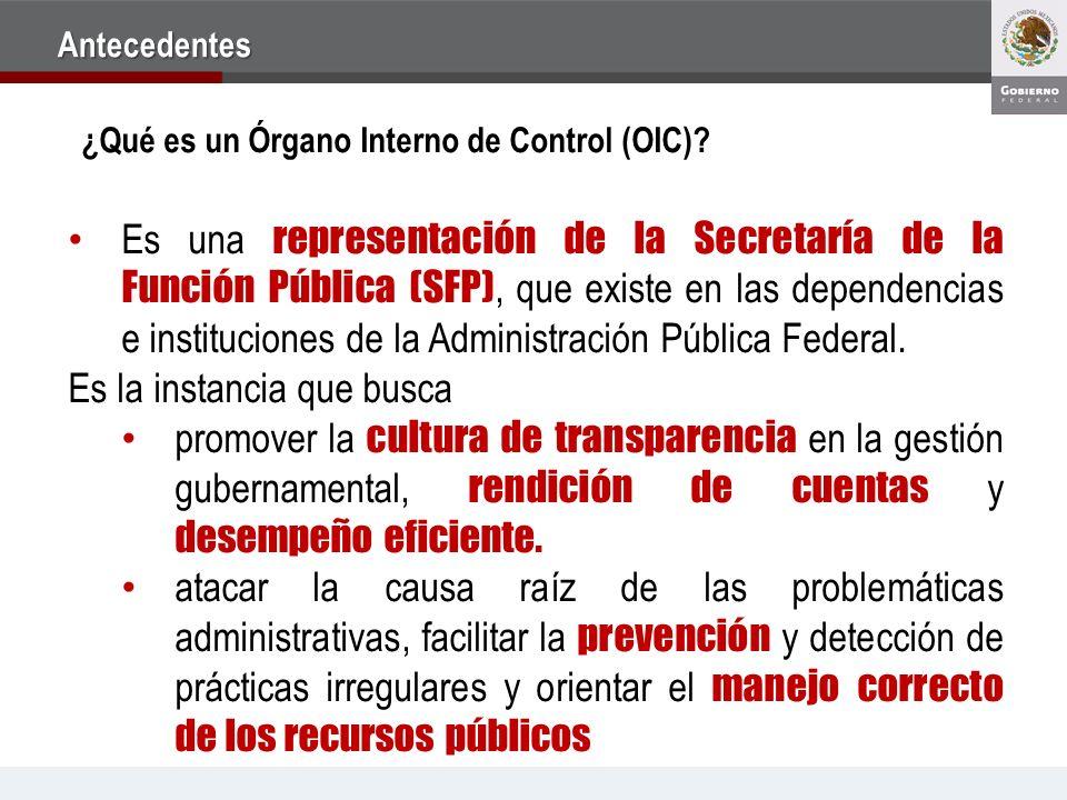 Es una representación de la Secretaría de la Función Pública (SFP), que existe en las dependencias e instituciones de la Administración Pública Federa