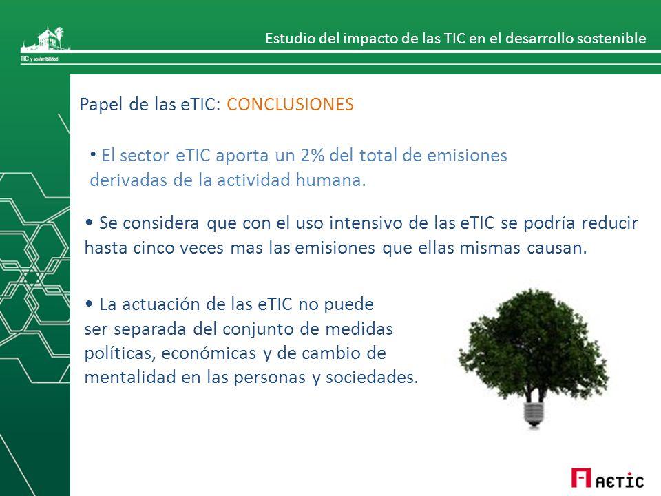 Estudio del impacto de las TIC en el desarrollo sostenible Papel de las eTIC: CONCLUSIONES Se considera que con el uso intensivo de las eTIC se podría reducir hasta cinco veces mas las emisiones que ellas mismas causan.