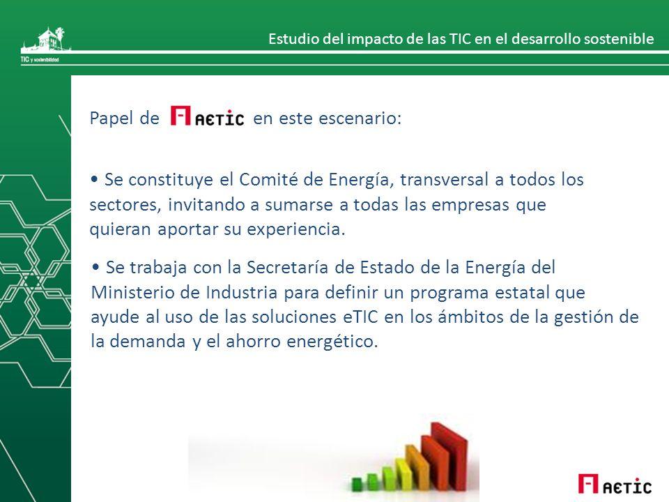 Estudio del impacto de las TIC en el desarrollo sostenible Papel de en este escenario: Se constituye el Comité de Energía, transversal a todos los sectores, invitando a sumarse a todas las empresas que quieran aportar su experiencia.
