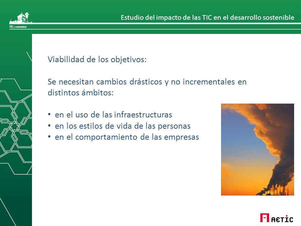 Estudio del impacto de las TIC en el desarrollo sostenible Viabilidad de los objetivos: Se necesitan cambios drásticos y no incrementales en distintos