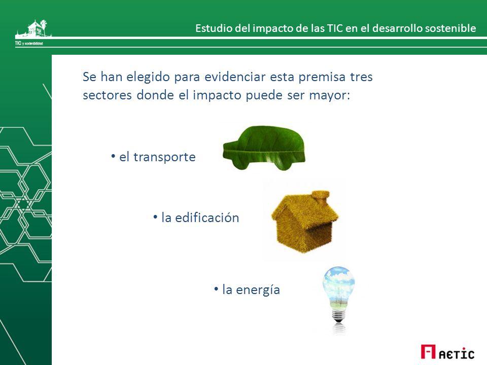 Estudio del impacto de las TIC en el desarrollo sostenible Se han elegido para evidenciar esta premisa tres sectores donde el impacto puede ser mayor: el transporte la edificación la energía
