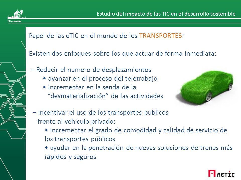 Estudio del impacto de las TIC en el desarrollo sostenible Papel de las eTIC en el mundo de los TRANSPORTES: Existen dos enfoques sobre los que actuar