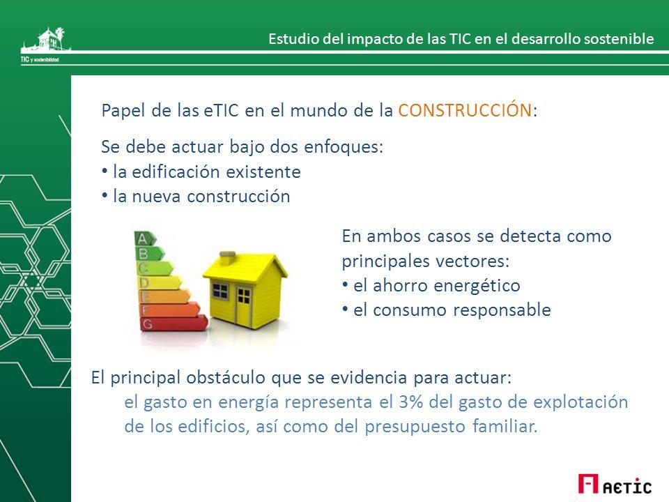 Estudio del impacto de las TIC en el desarrollo sostenible Papel de las eTIC en el mundo de la CONSTRUCCIÓN: Se debe actuar bajo dos enfoques: la edif