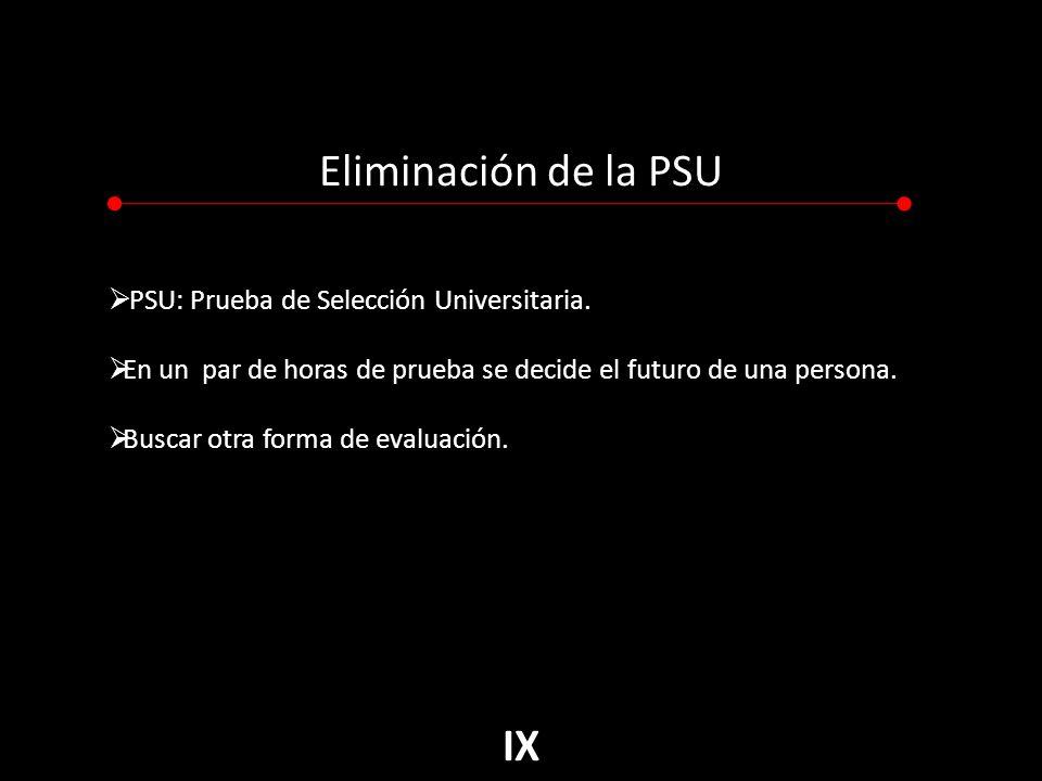 Eliminación de la PSU PSU: Prueba de Selección Universitaria.