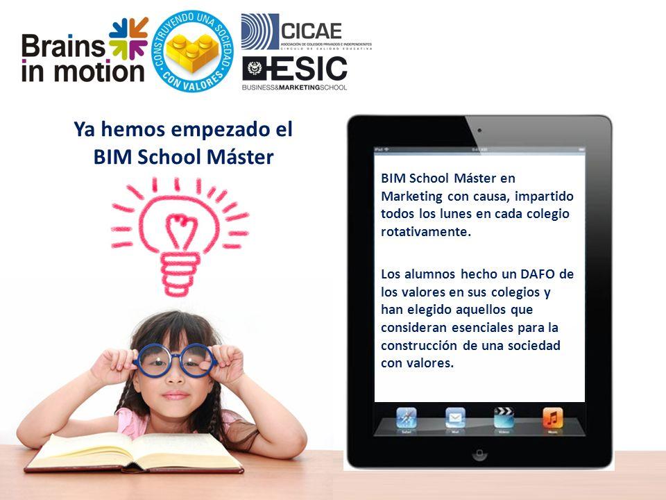 Ya hemos empezado el BIM School Máster BIM School Máster en Marketing con causa, impartido todos los lunes en cada colegio rotativamente.