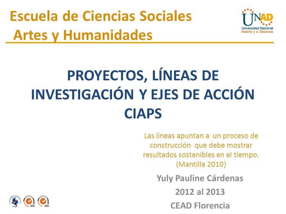 Yuly Pauline Cárdenas 2012 al 2013 CEAD Florencia Escuela de Ciencias Sociales Artes y Humanidades Las líneas apuntan a un proceso de construcción que debe mostrar resultados sostenibles en el tiempo.