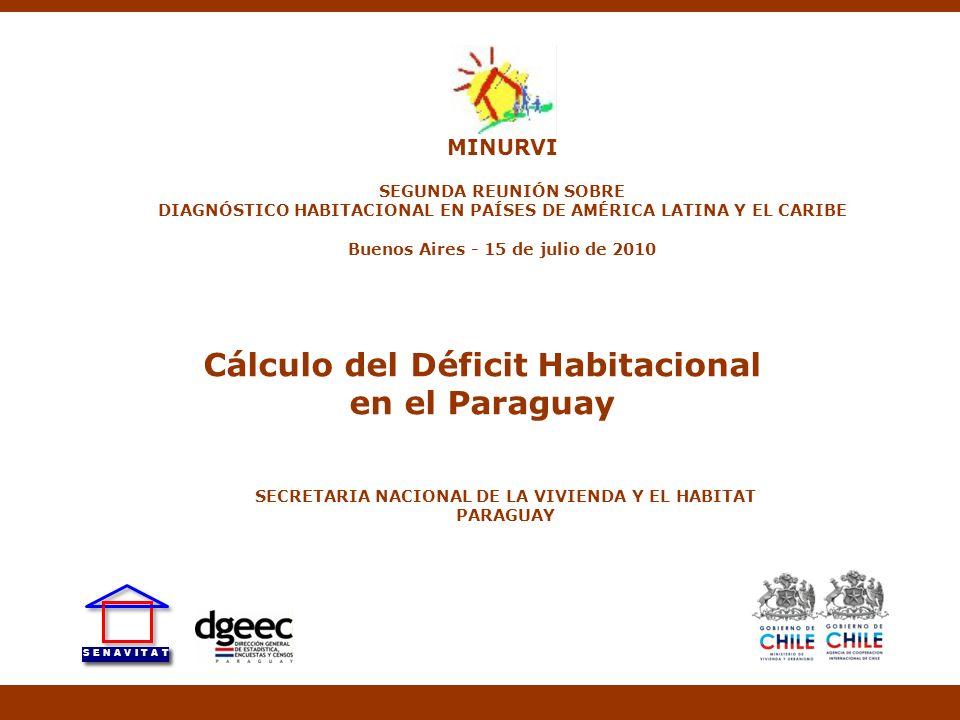 Cálculo del Déficit Habitacional en el Paraguay SECRETARIA NACIONAL DE LA VIVIENDA Y EL HABITAT PARAGUAY MINURVI SEGUNDA REUNIÓN SOBRE DIAGNÓSTICO HAB