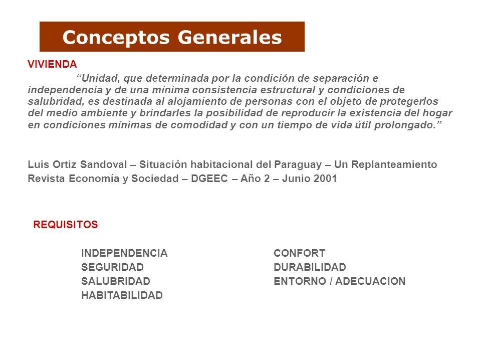 Conceptos Generales VIVIENDA Unidad, que determinada por la condición de separación e independencia y de una mínima consistencia estructural y condici