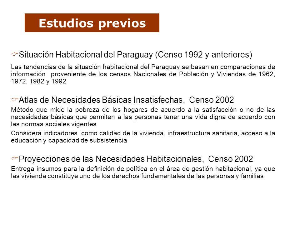 Estudios previos Situación Habitacional del Paraguay (Censo 1992 y anteriores) Las tendencias de la situación habitacional del Paraguay se basan en co