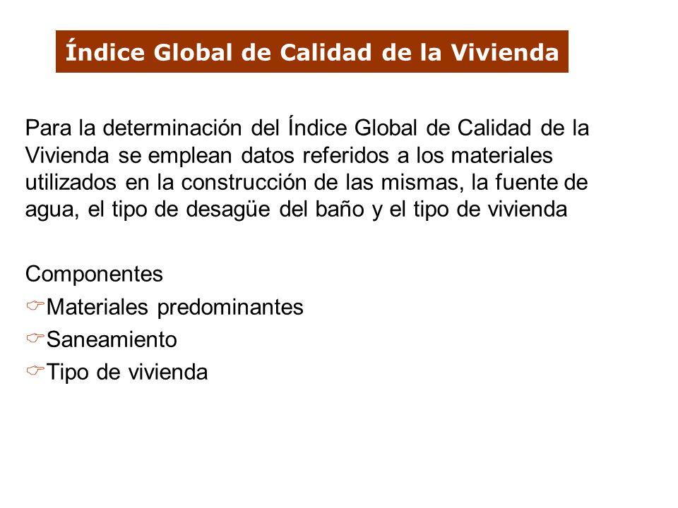 Índice Global de Calidad de la Vivienda Para la determinación del Índice Global de Calidad de la Vivienda se emplean datos referidos a los materiales