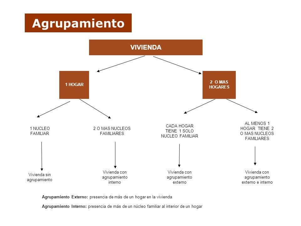 Agrupamiento Agrupamiento Interno: presencia de más de un núcleo familiar al interior de un hogar Agrupamiento Externo: presencia de más de un hogar e
