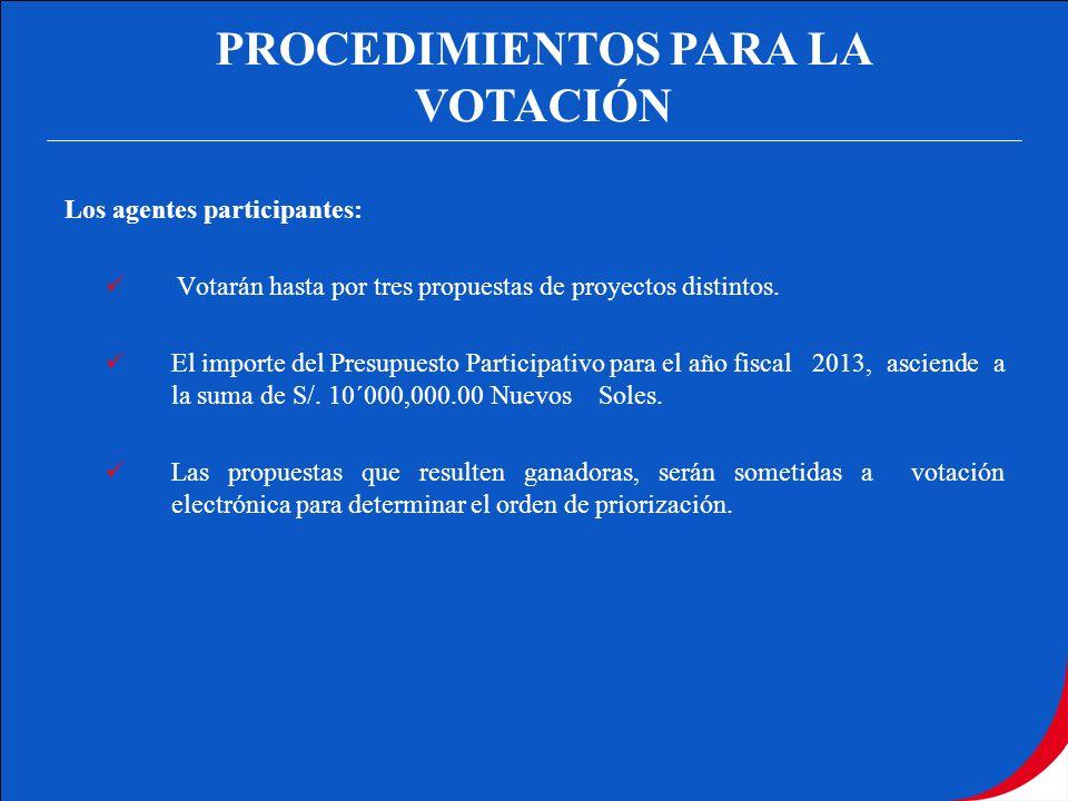 PROCEDIMIENTOS PARA LA VOTACIÓN Los agentes participantes: Votarán hasta por tres propuestas de proyectos distintos. El importe del Presupuesto Partic