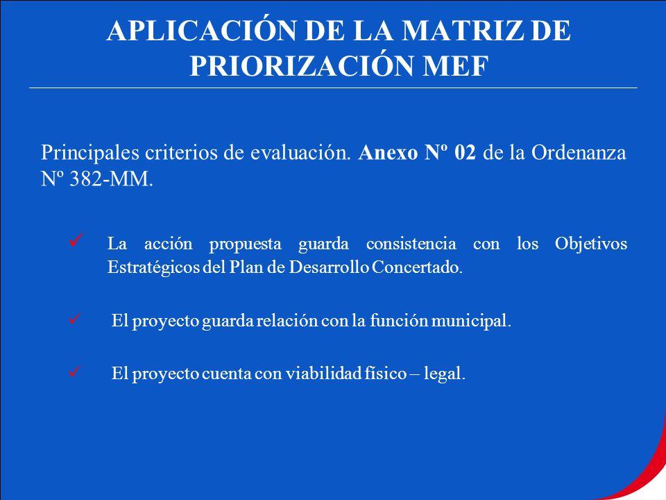 APLICACIÓN DE LA MATRIZ DE PRIORIZACIÓN MEF Principales criterios de evaluación. Anexo Nº 02 de la Ordenanza Nº 382-MM. La acción propuesta guarda con