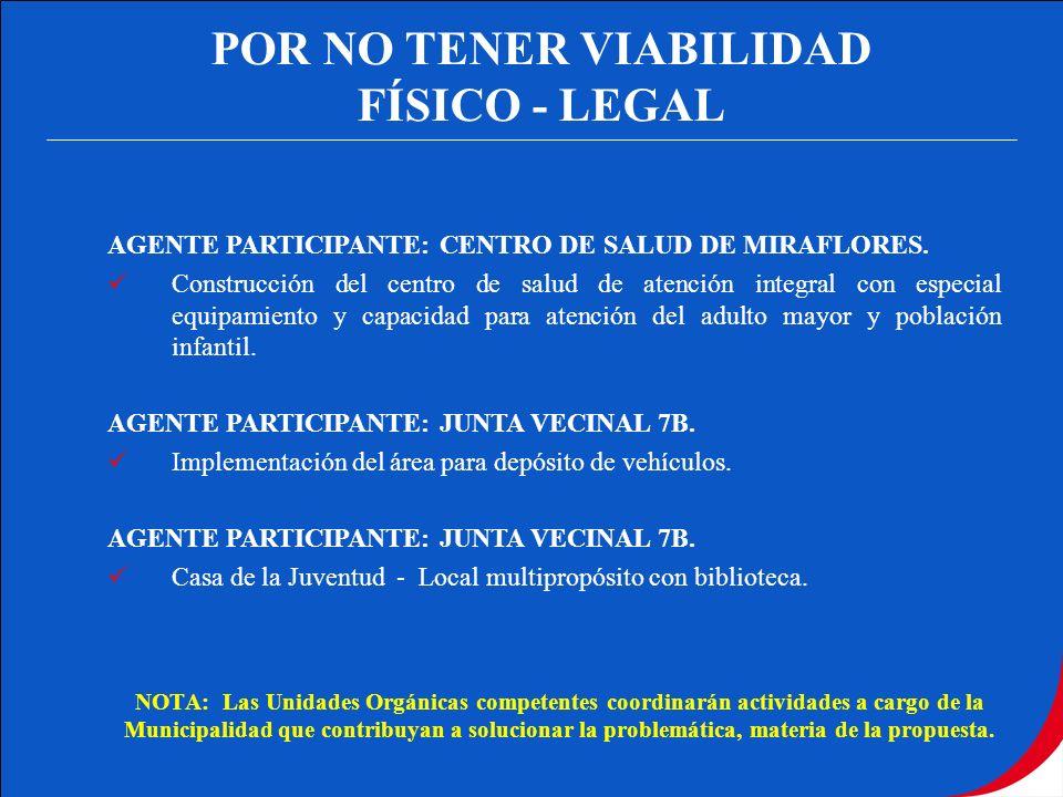 POR NO TENER VIABILIDAD FÍSICO - LEGAL AGENTE PARTICIPANTE: CENTRO DE SALUD DE MIRAFLORES. Construcción del centro de salud de atención integral con e
