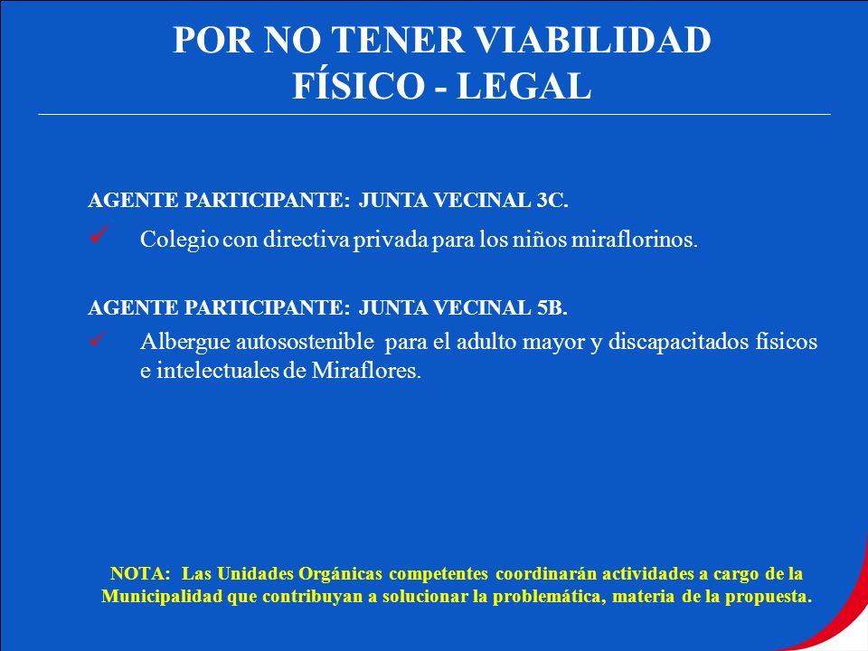 POR NO TENER VIABILIDAD FÍSICO - LEGAL AGENTE PARTICIPANTE: JUNTA VECINAL 3C. Colegio con directiva privada para los niños miraflorinos. AGENTE PARTIC