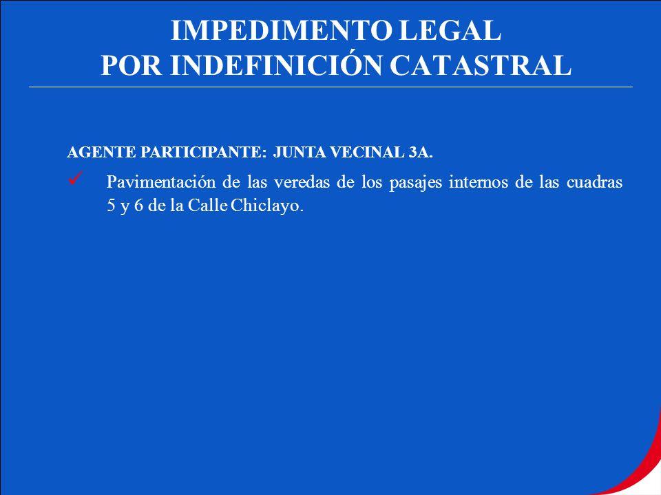 IMPEDIMENTO LEGAL POR INDEFINICIÓN CATASTRAL AGENTE PARTICIPANTE: JUNTA VECINAL 3A. Pavimentación de las veredas de los pasajes internos de las cuadra