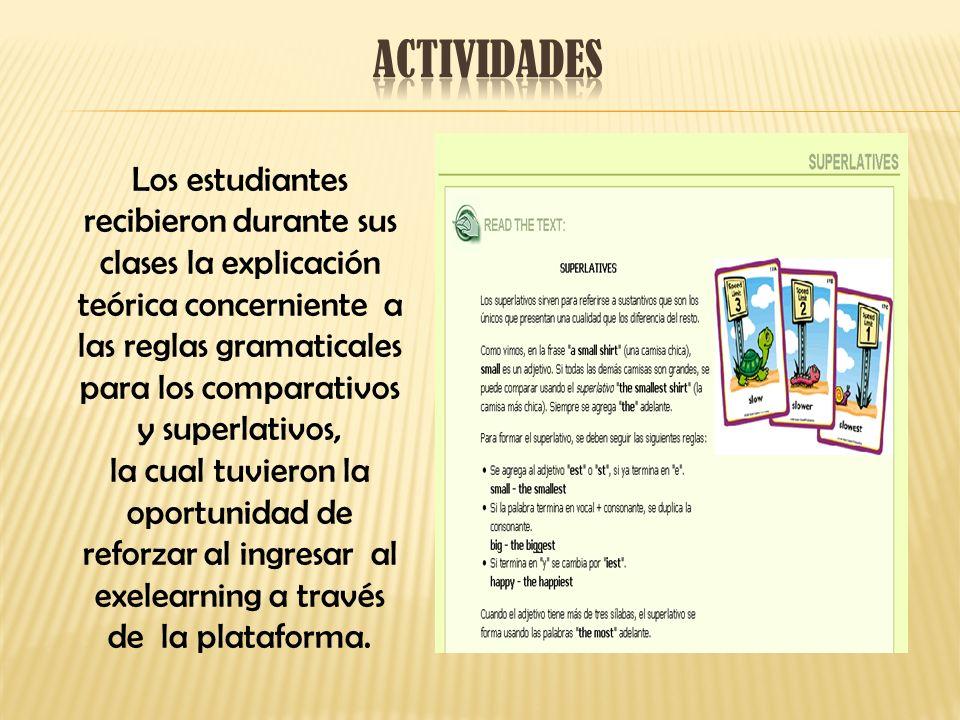 Al recibir las instrucciones de la utilización del exelearning, los estudiantes pudieron aplicar los conocimientos adquiridos en ejercicios prácticos, tales como completar espacios en blanco y preguntas de selección múltiple.