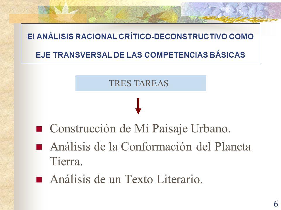 6 Construcción de Mi Paisaje Urbano. Análisis de la Conformación del Planeta Tierra. Análisis de un Texto Literario. El ANÁLISIS RACIONAL CRÍTICO-DECO
