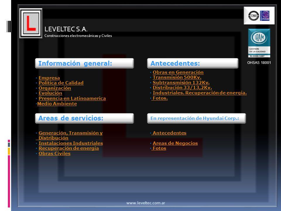 Información general: Empresa Politica de Calidad Organización Evolución Presencia en Latinoamerica Medio Ambiente Areas de servicios: Generación, Tran