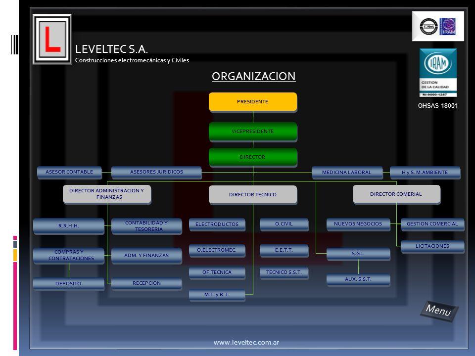 LEVELTEC S.A. Construcciones electromecánicas y Civiles www.leveltec.com.ar VICEPRESIDENTE ASESORES JURIDICOS MEDICINA LABORAL H y S. M.AMBIENTE DIREC
