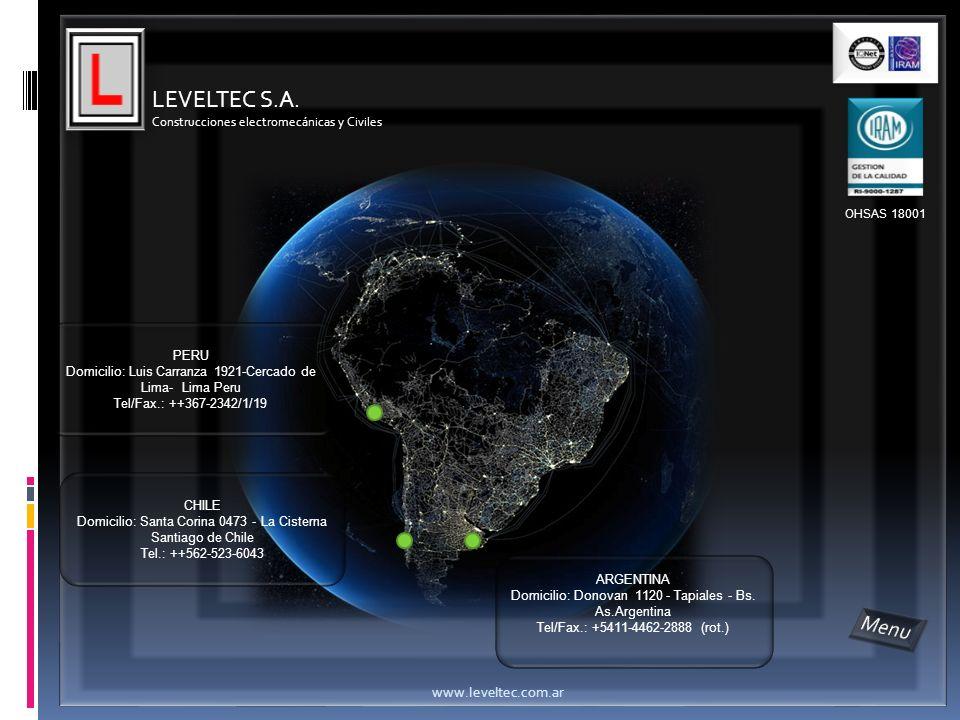 LEVELTEC S.A. Construcciones electromecánicas y Civiles ARGENTINA Domicilio: Donovan 1120 - Tapiales - Bs. As.Argentina Tel/Fax.: +5411-4462-2888 (rot