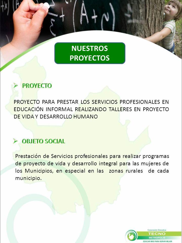 Prestación de Servicios profesionales para realizar programas de proyecto de vida y desarrollo integral para las mujeres de los Municipios, en especial en las zonas rurales de cada municipio.