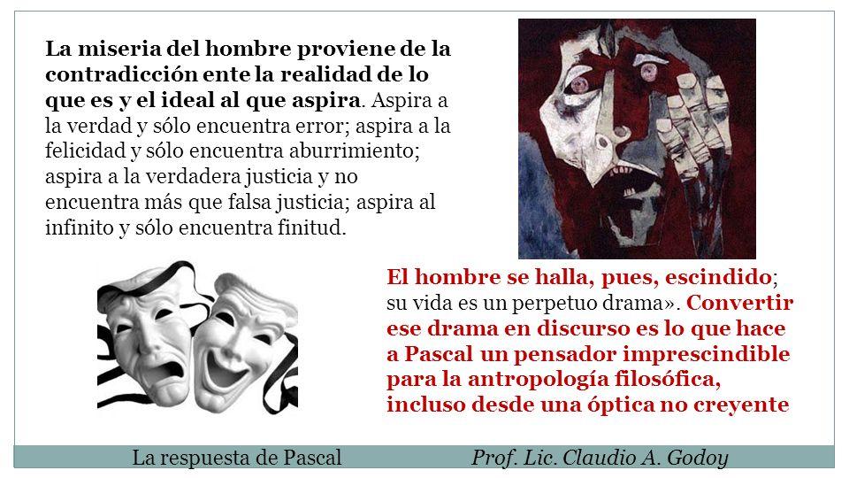 La respuesta de PascalProf. Lic. Claudio A. Godoy La miseria del hombre proviene de la contradicción ente la realidad de lo que es y el ideal al que a