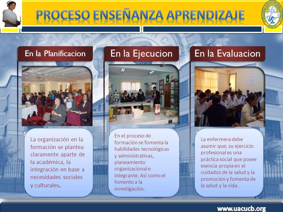 statement En la Planificacion statement En la Ejecucion statement En la Evaluacion La organización en la formación se plantea claramente aparte de la