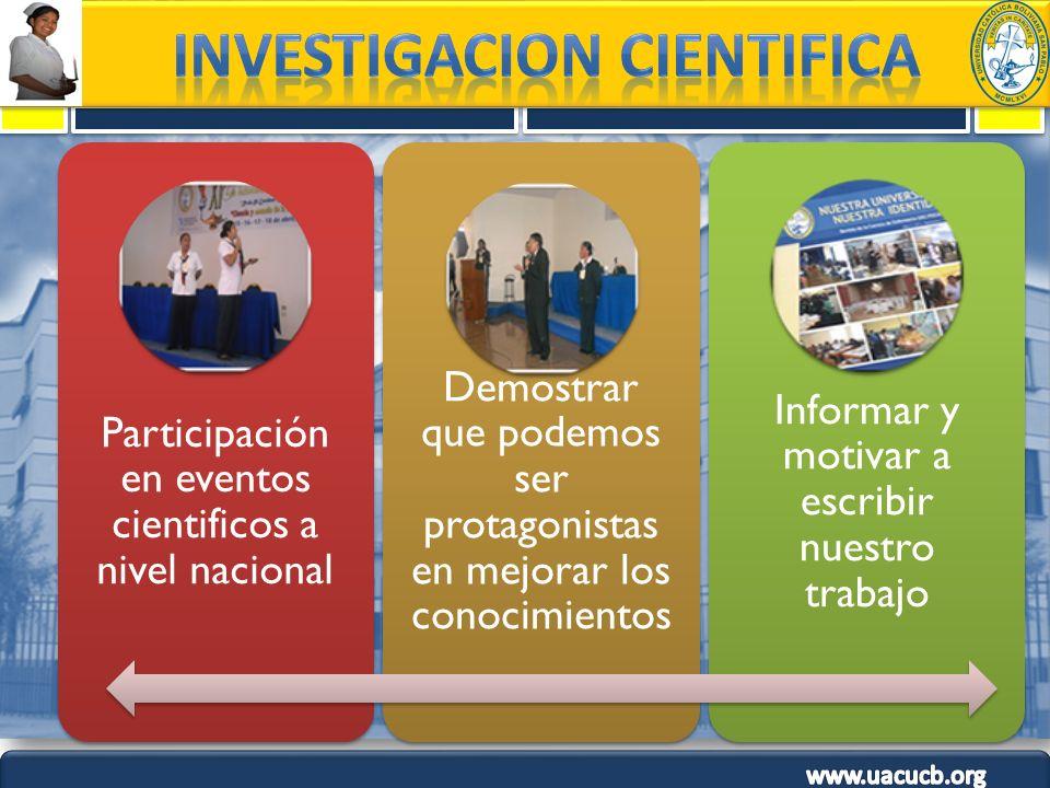 Participación en eventos cientificos a nivel nacional Demostrar que podemos ser protagonistas en mejorar los conocimientos Informar y motivar a escrib